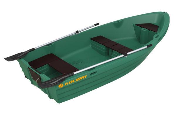 Моторно-гребная пластиковая лодка Колибри RKM-350 зеленого цвета
