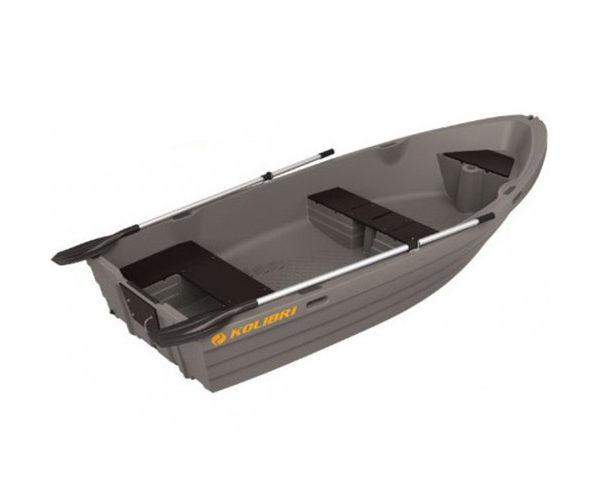 Моторно-гребная пластиковая лодка Колибри серого цвета